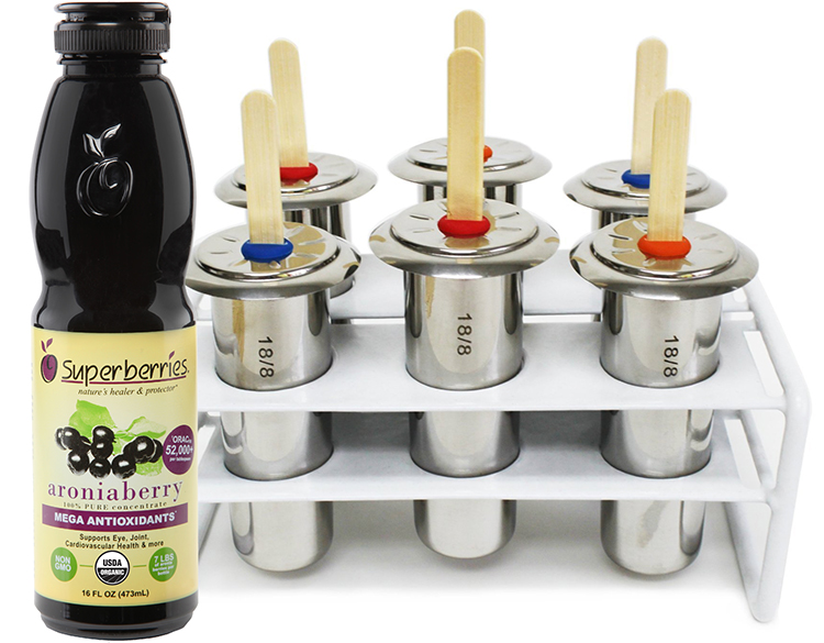June 2015 Antioxidant-fruits.com Giveaway: Superberries Bottle of Concentrate and Stainless Steel Popsicle 6 Piece Mold and Rack Set