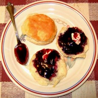 Freshly Made Elderberry Jelly on Biscuits